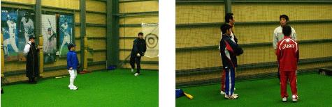 札幌市のバッティングセンター・ピッチャーガエシにて少年野球指導